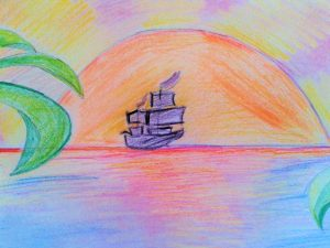 A boat from afar, personal drawing, color pencils
